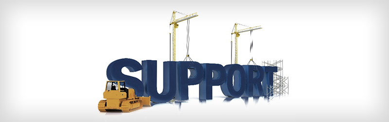Construction equipment building the word: support