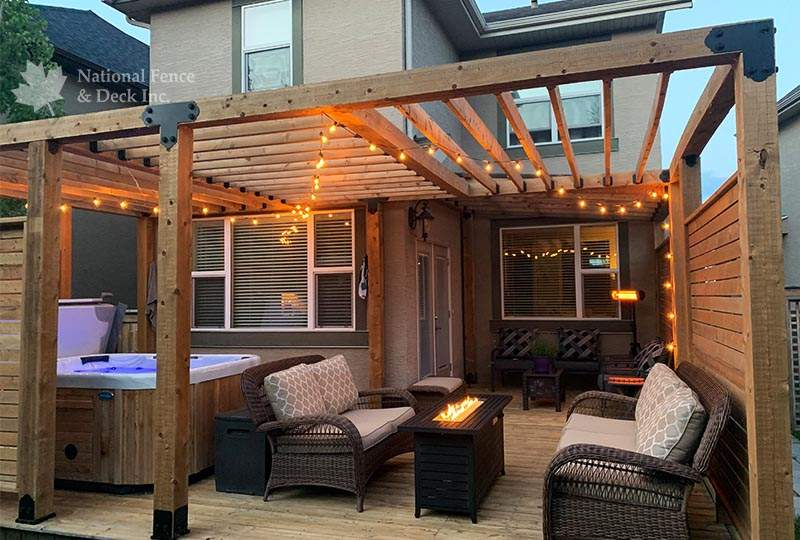 pressure treated pergola includes privacy walls