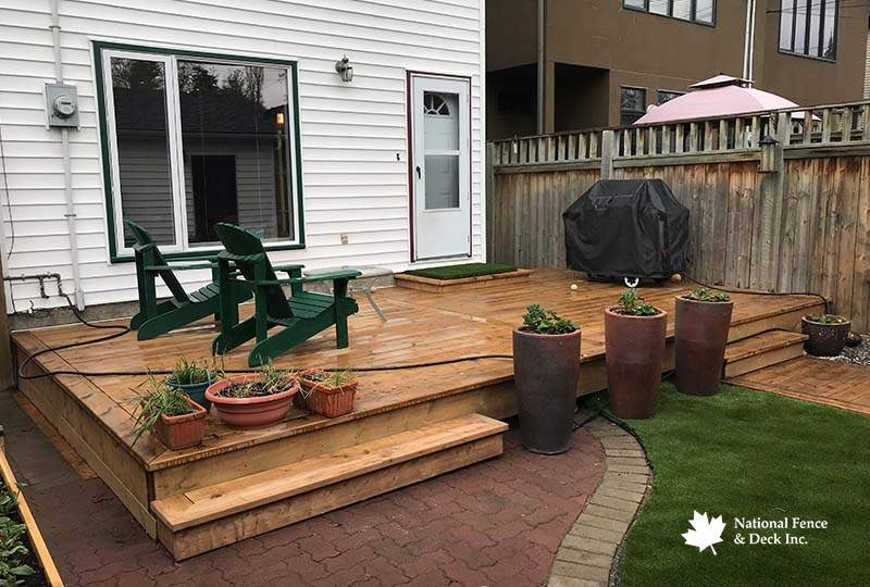 Brown Pressure Treated Wood Deck