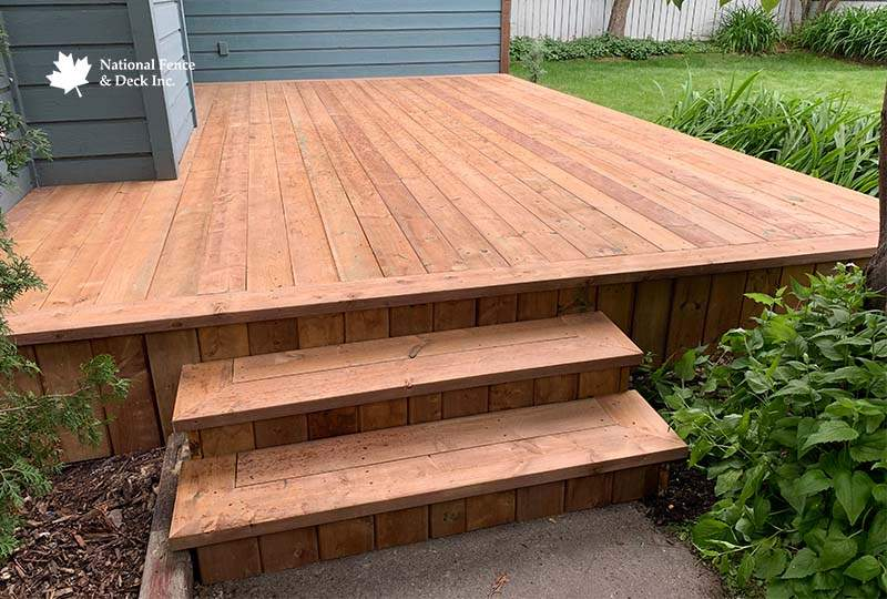 Wood Deck Showcasing Matching Skirting