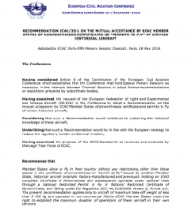 ECAC Recommendation 35-1 (18 May 2016)