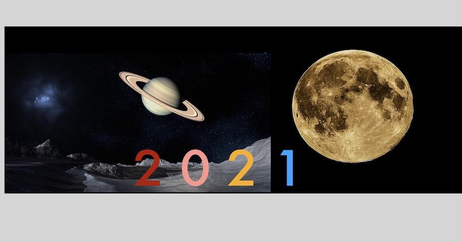 Mond und Saturn und bunt die Zahl 2021