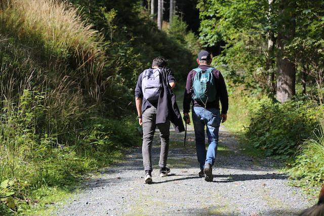 2 Männer von hinten mit Rucksack im Wald wandernd