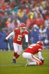 Kansas City Chiefs kicker Cairo Santos (5) kicks the football for a field goal as punter Dustin Colquitt (2) holds during a week 12 NFL football game against the Buffalo Bills in Kansas City, Mo., Sunday, Nov. 29, 2015. The Chiefs defeated the Bills 30-22. (Scott Boehm via AP)