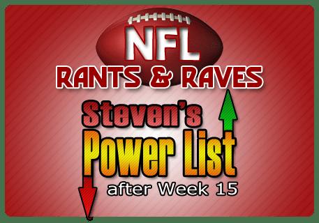 Steven's NFL Power List after Week 15
