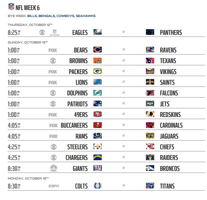 Image result for nfl week 6 2017