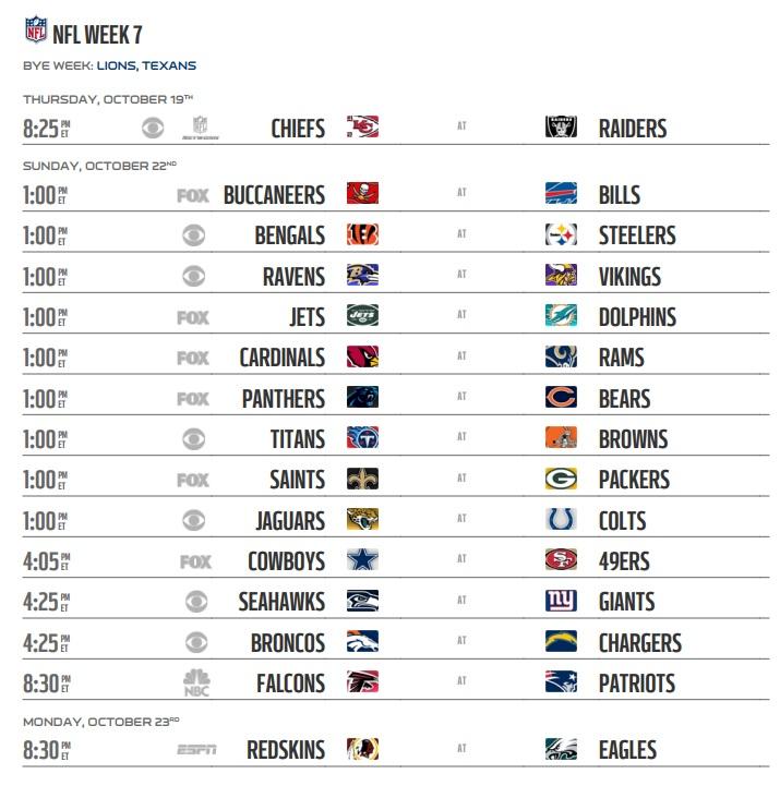 Image result for NFL Week 7 2017