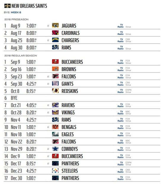 New Orleans Saints NFL 2020 full Schedules Game TV