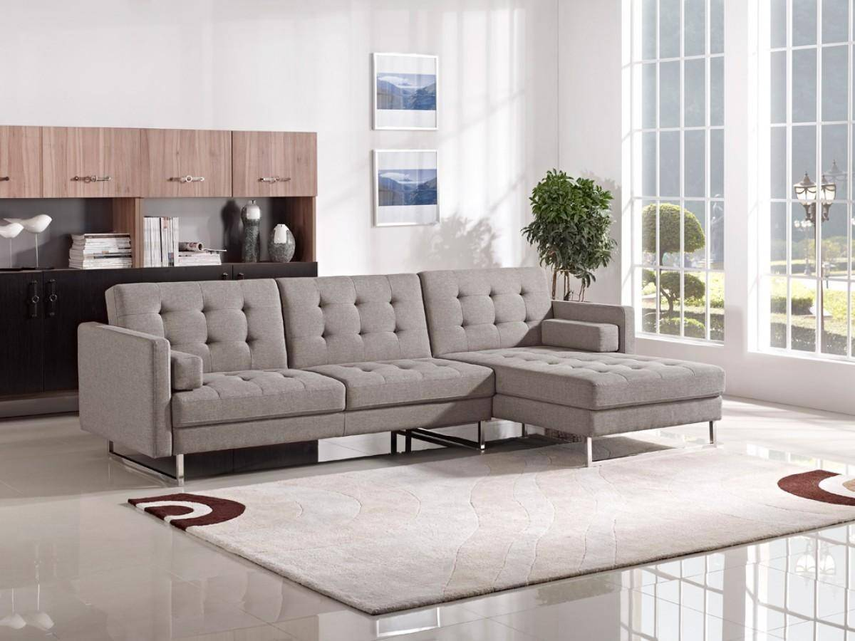 soflex madison sectional sofa bed right hand chase in gray fabric