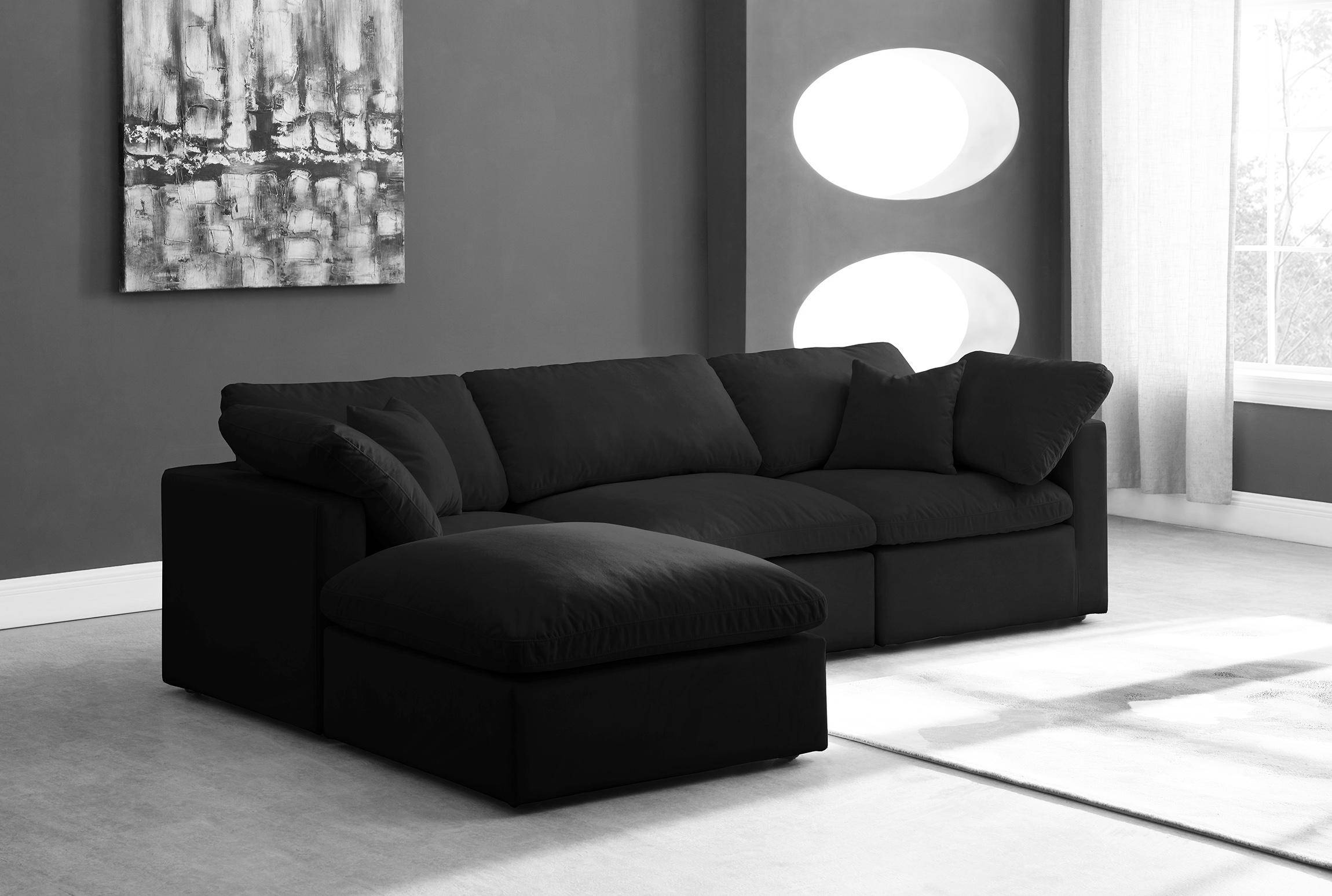 meridian cloud black modular sectional sofa in black fabric