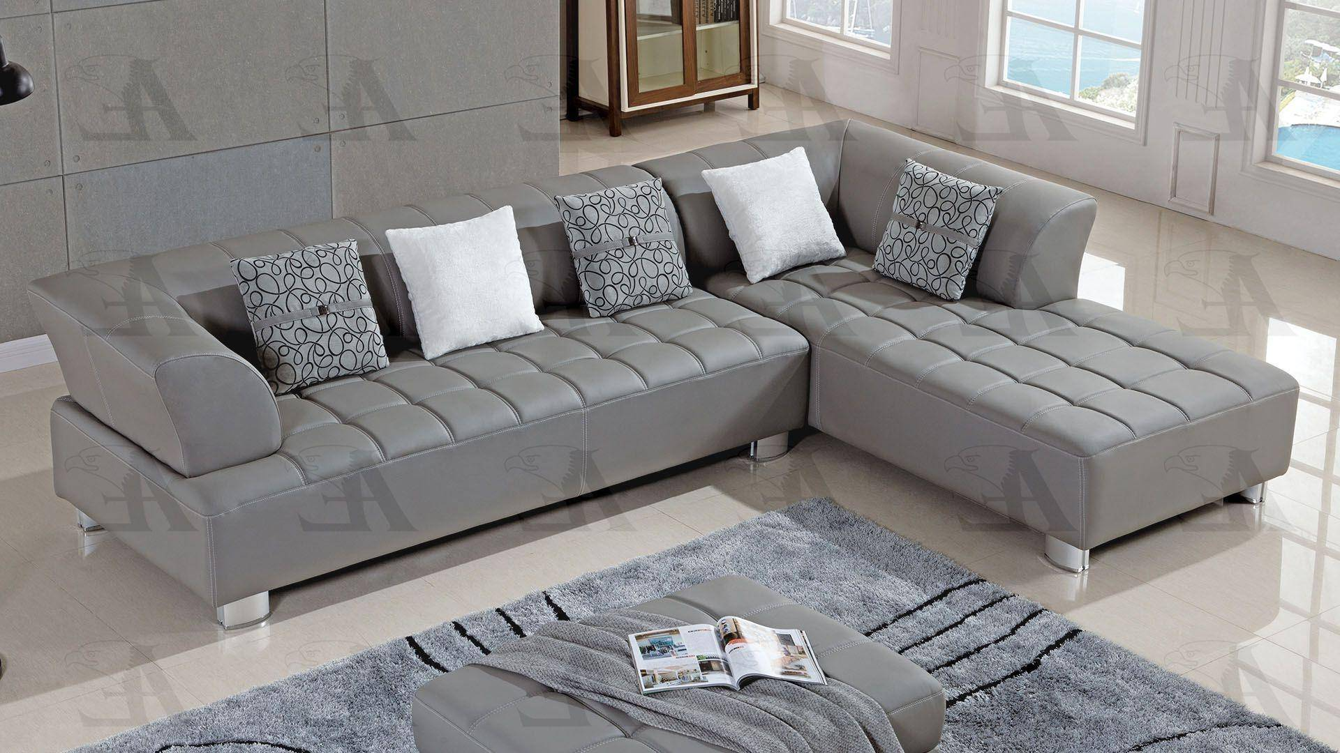 american eagle ae l138 gr sectional sofa set 3 pcs right hand chase in gray faux leather