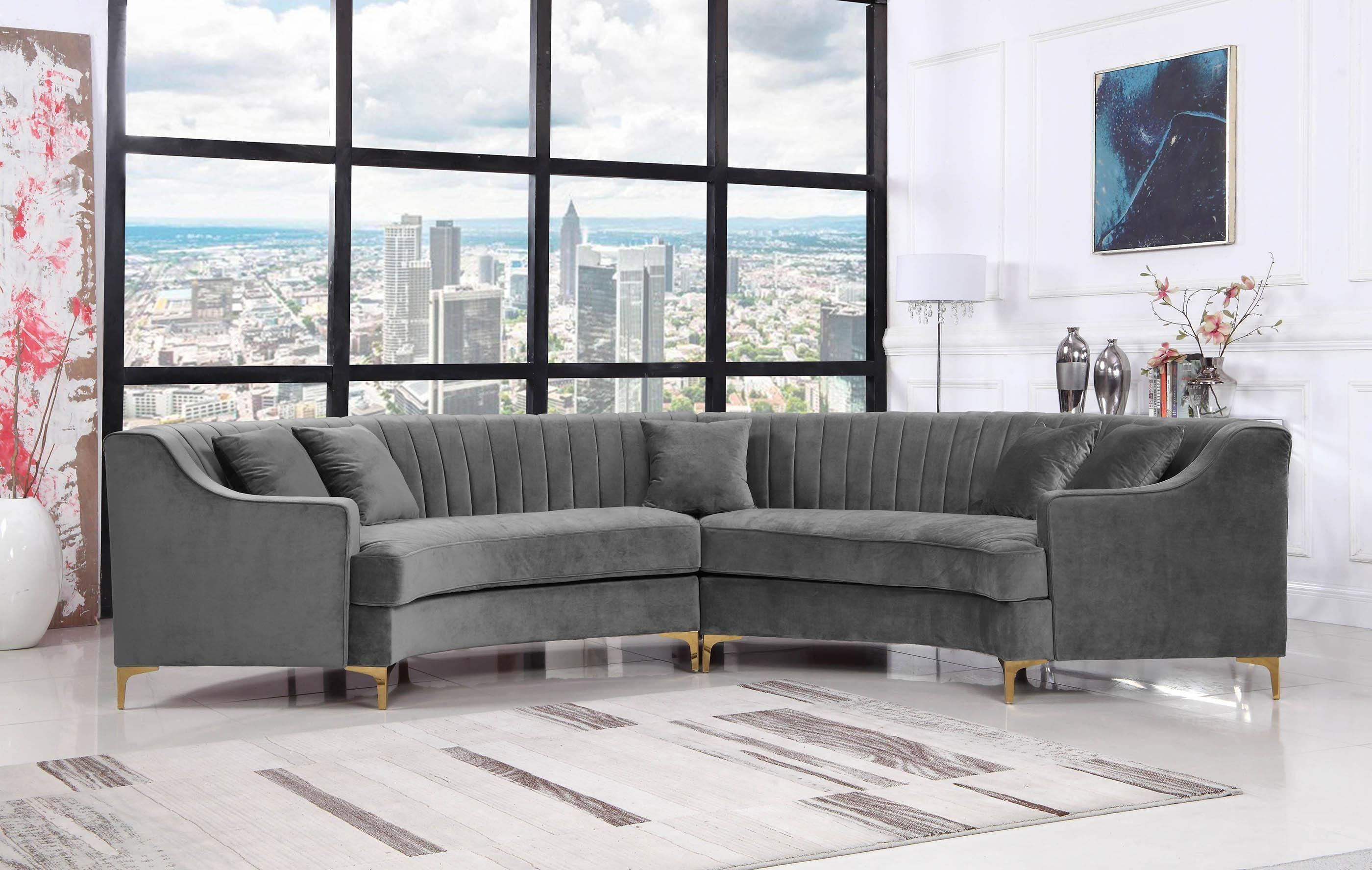 meridian jackson 673 sectional sofa 2 pcs in gray soft velvet