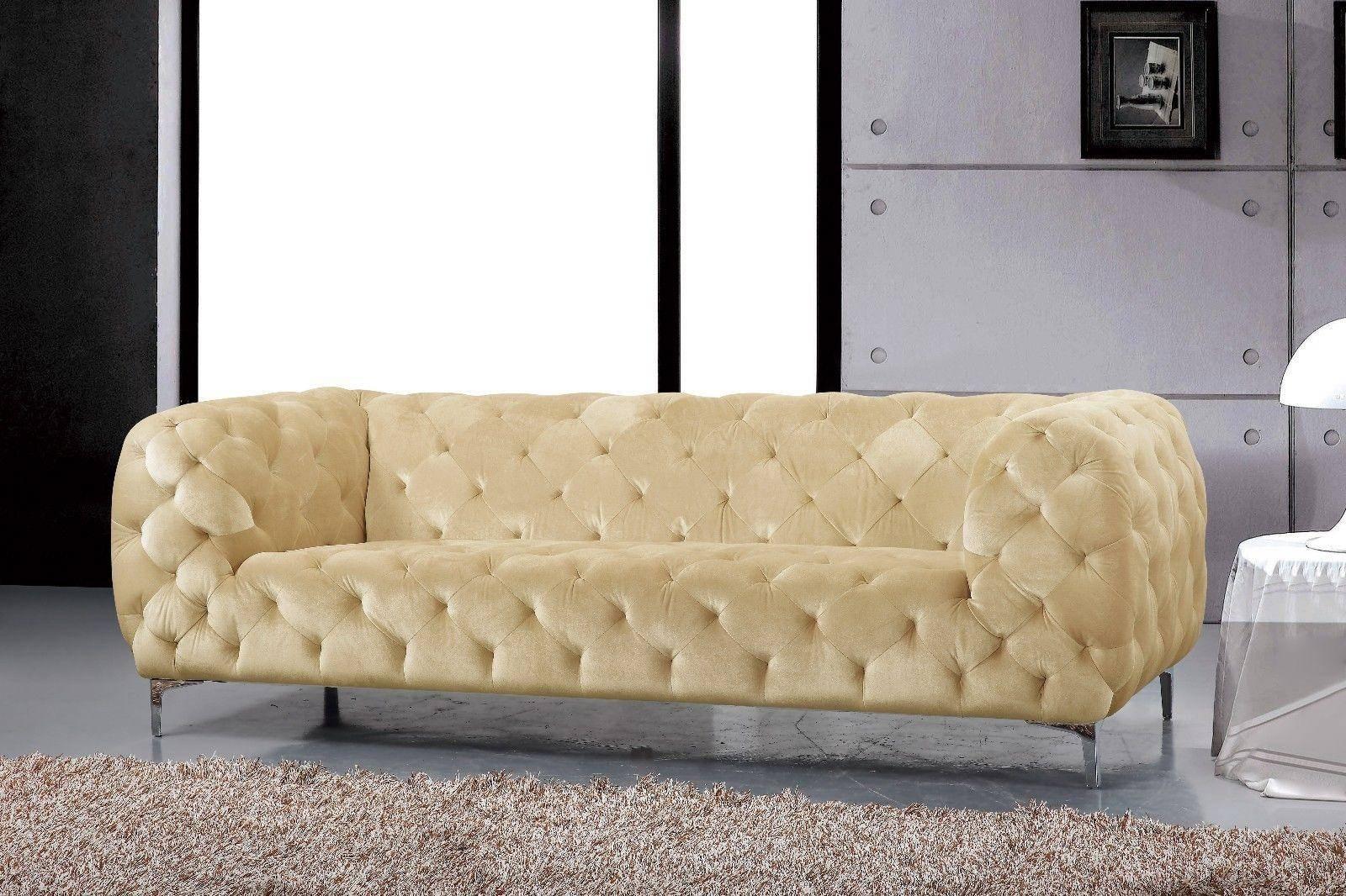 Buy Meridian Mercer Sofa Loveseat And Chair Set 3 Pcs In Beige Velvet Online