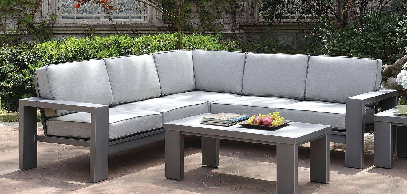 furniture of america codington outdoor sectional in gray fabric