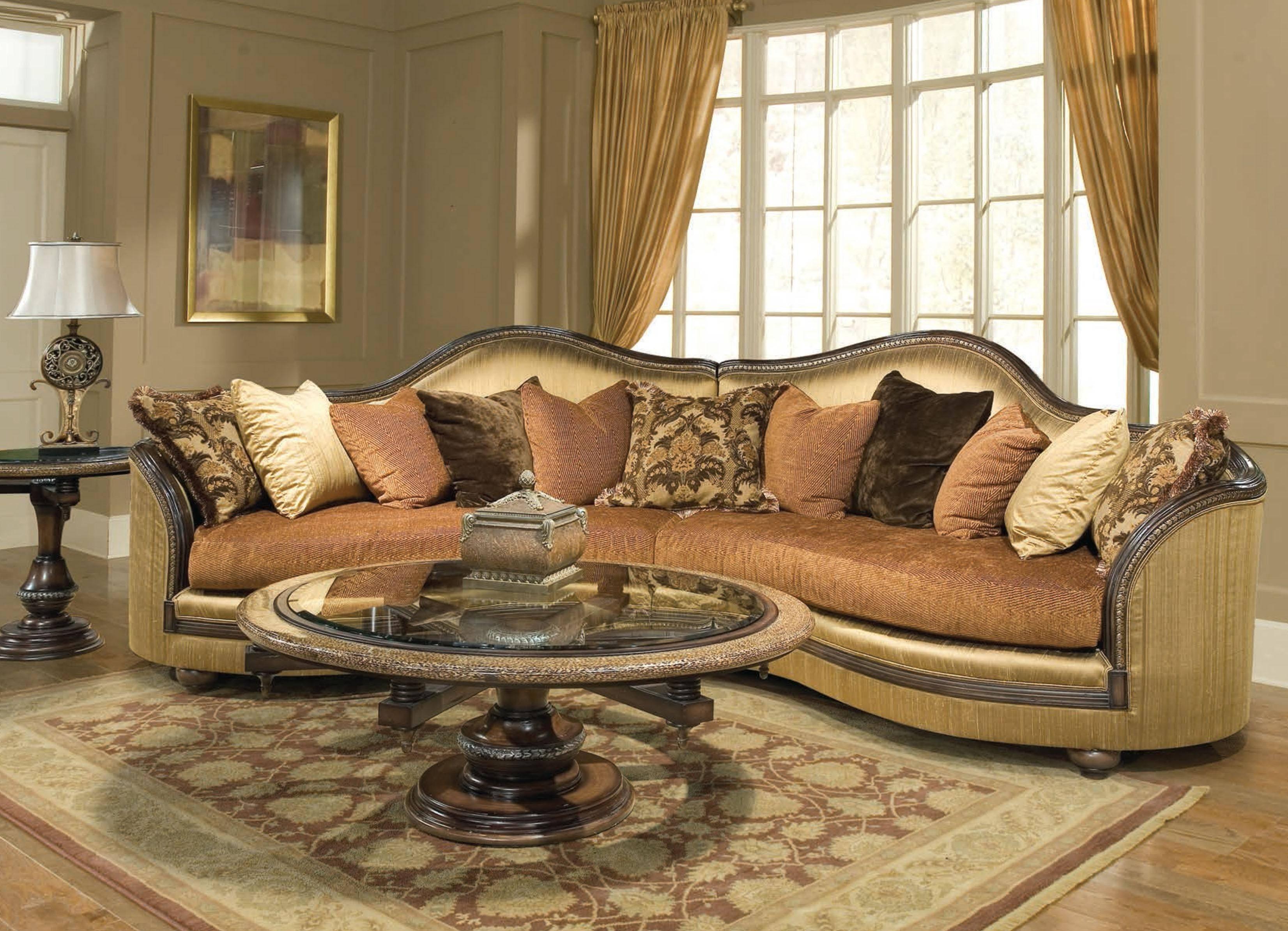 benetti s ancona sectional sofa in beige bronze gold dark brown chenille