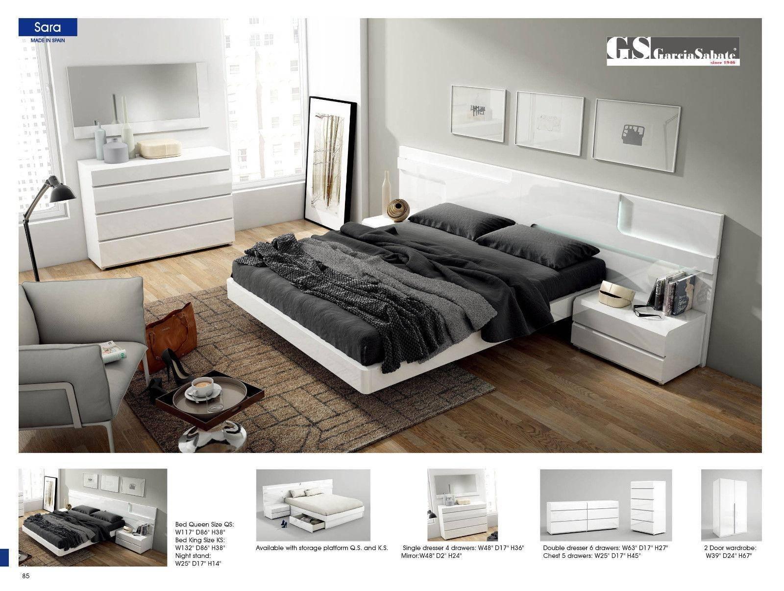 esf sara king platform bedroom set 5 pcs in white wood solids and veneer