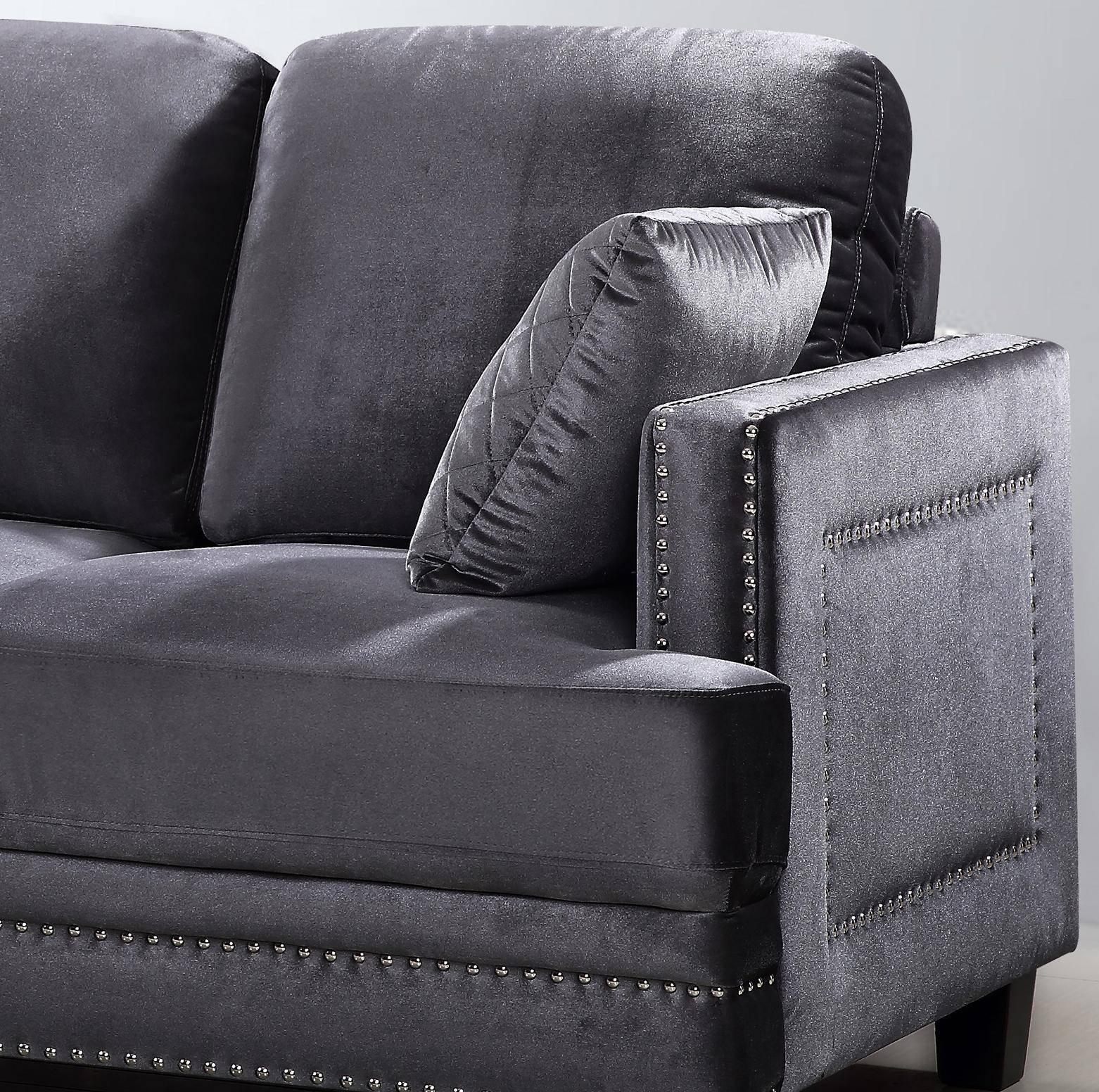 meridian ferrara sectional sofa left hand chase in gray velvet