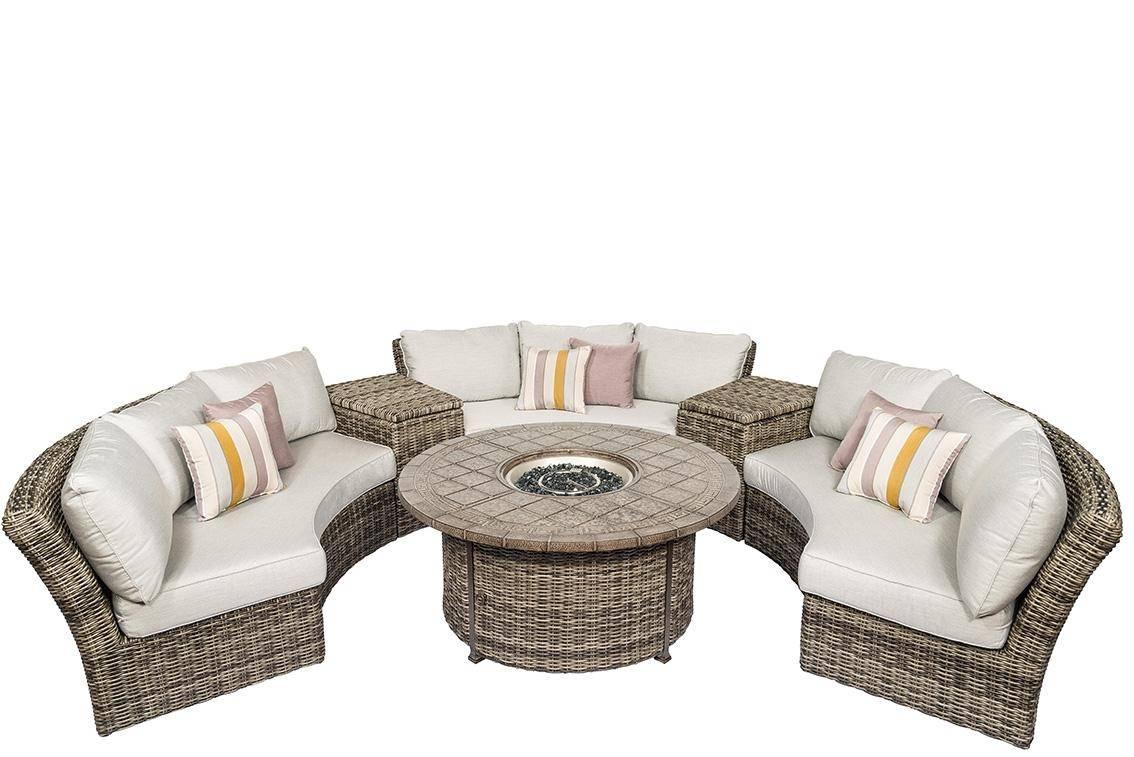 calipatio athena patio curved circular sofa set 6 pcs in natural grey wicker
