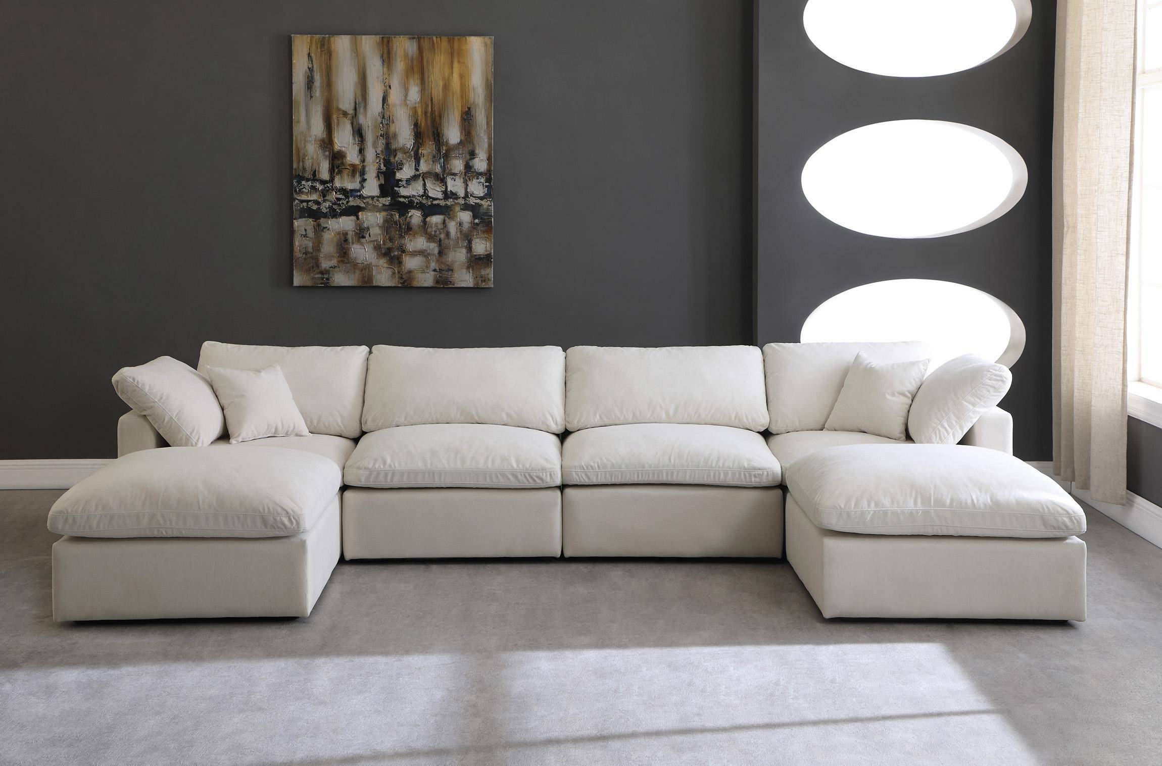 meridian cloud cream modular sectional sofa in cream fabric