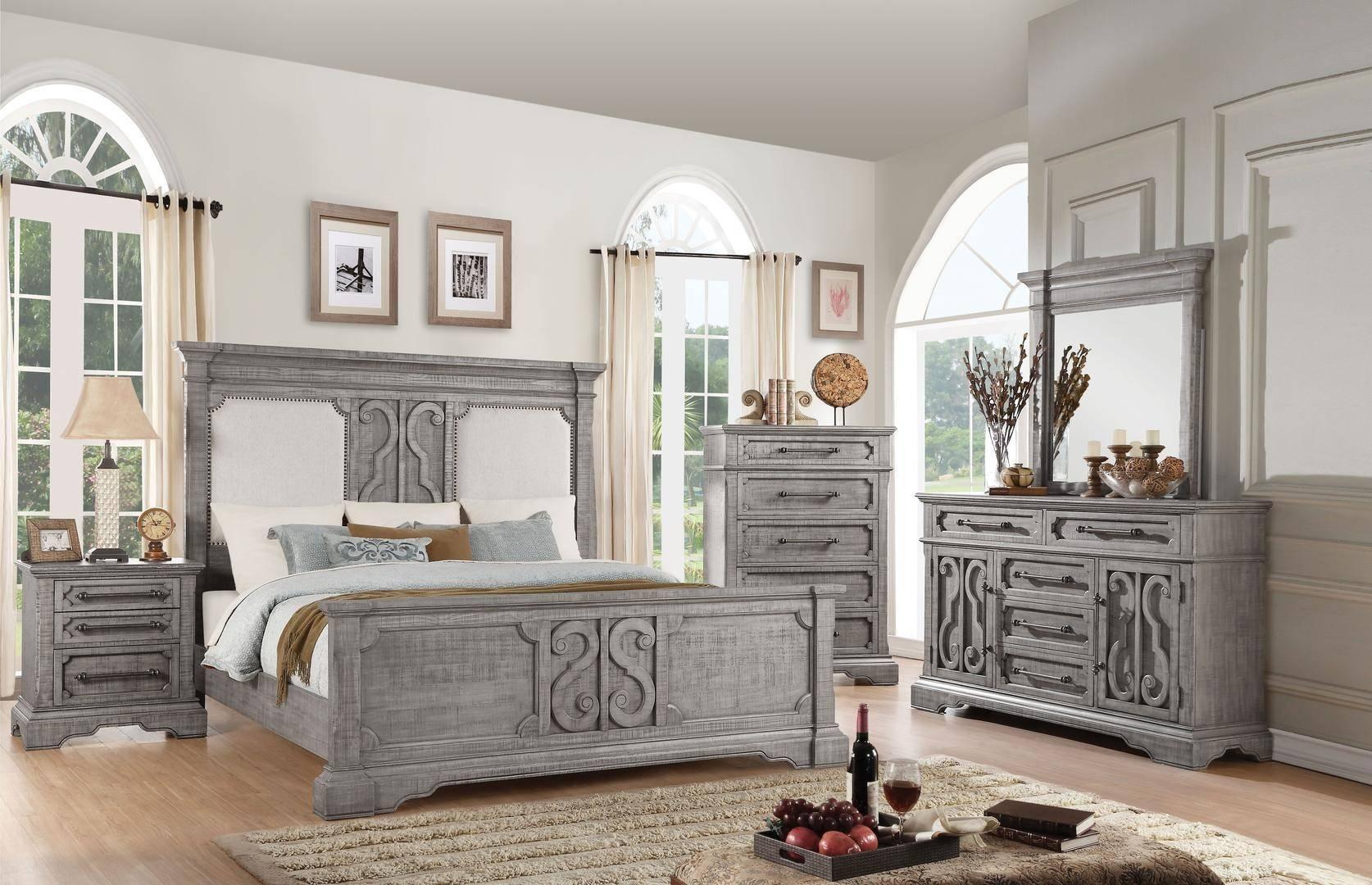 acme artesia queen panel bedroom set 3 pcs in natural wood fabric