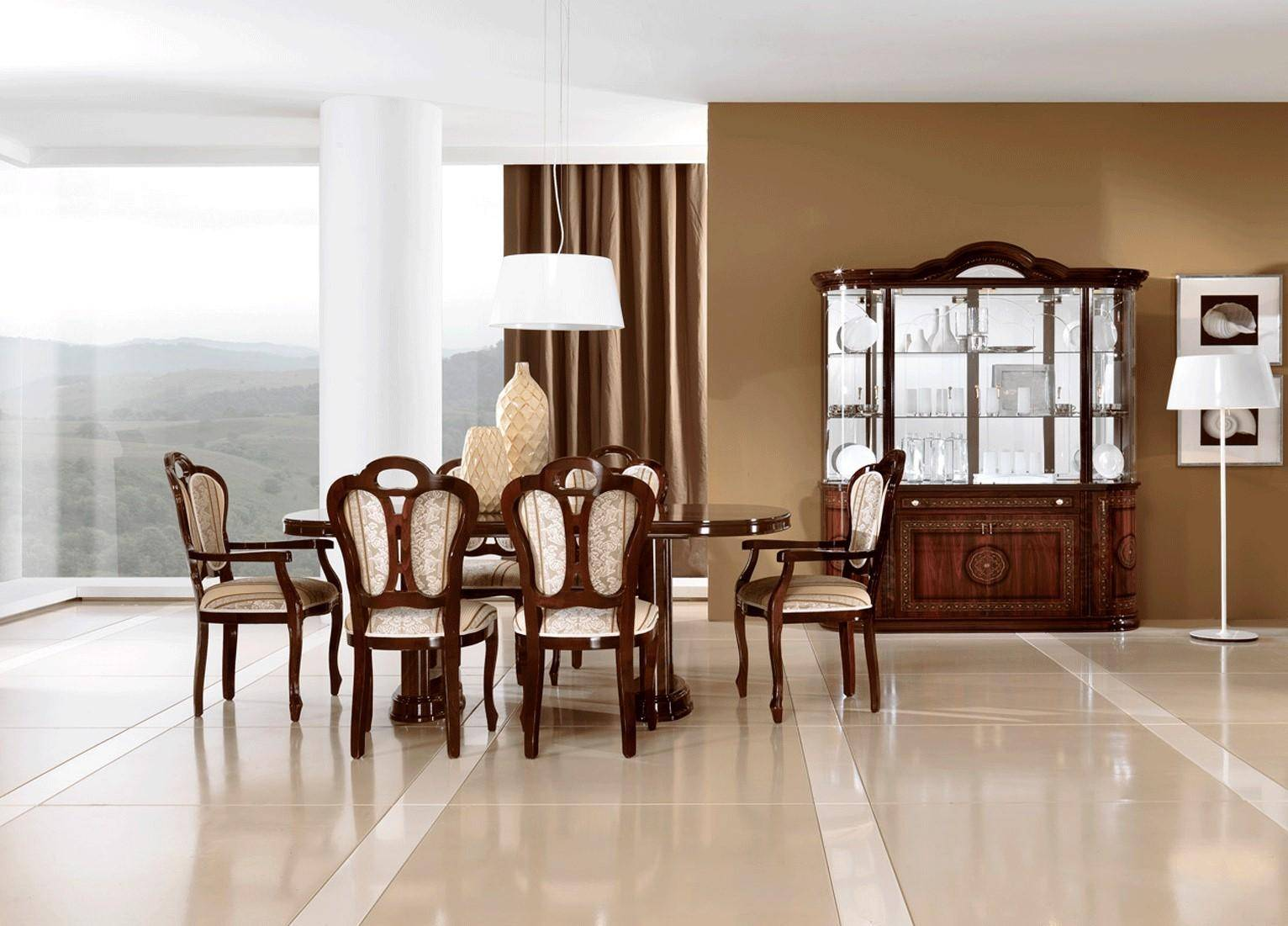 Buy Esf Pamela Dining Table Set 8 Pcs In Beige Brown Mahogany Fabric Online