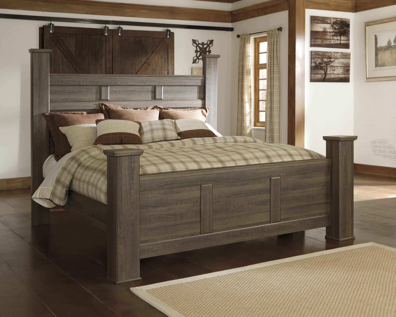 ashley juararo king poster bedroom set 3 pcs in dark brown wood