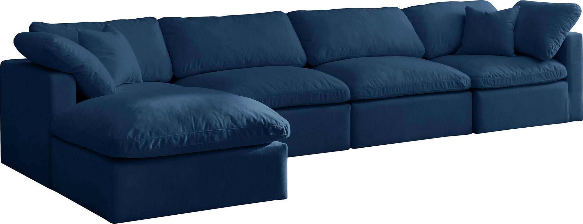 meridian cloud navy modular sectional sofa in navy fabric