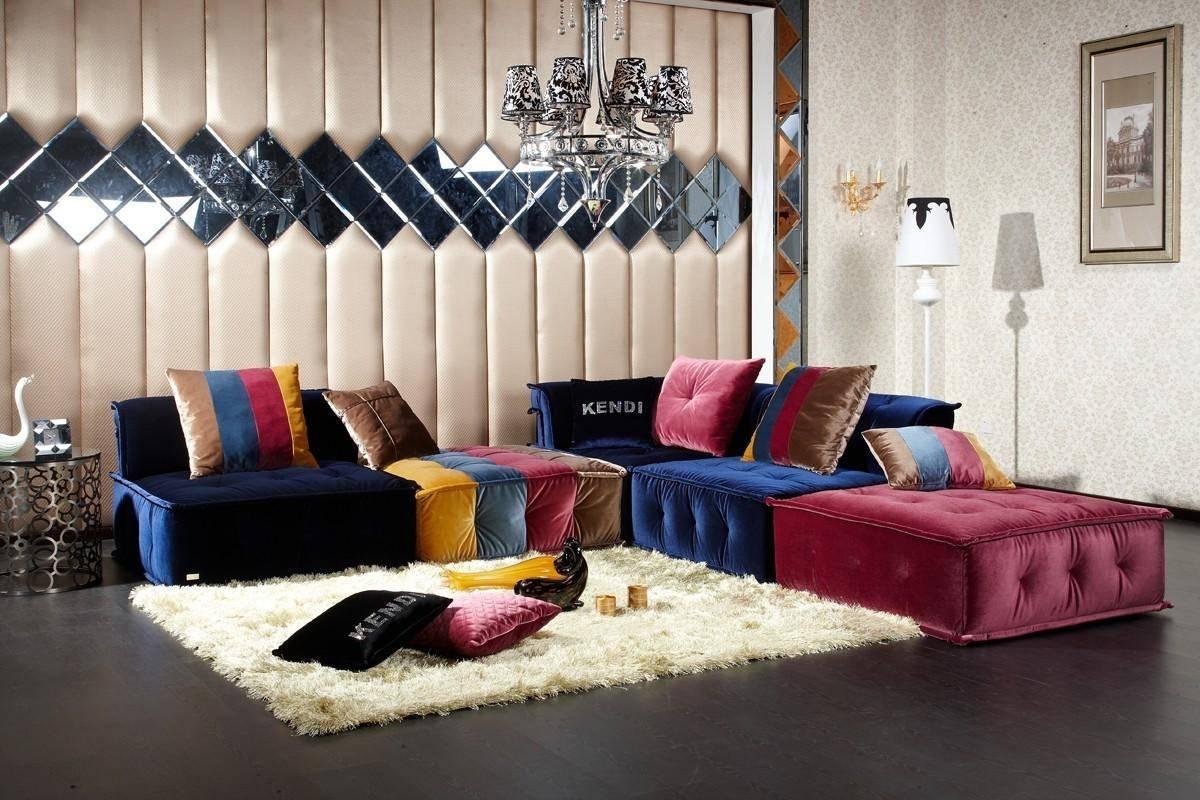 soflex phoenix sectional sofa in multi floss fabric