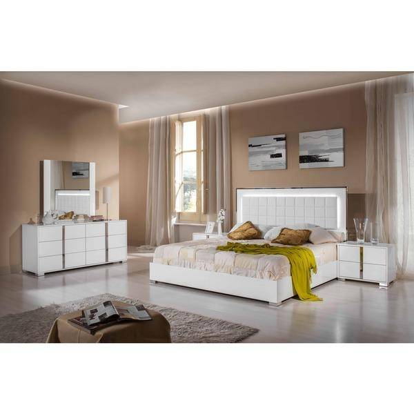 vig modrest san marino queen platform bed 6 pcs in white eco leather