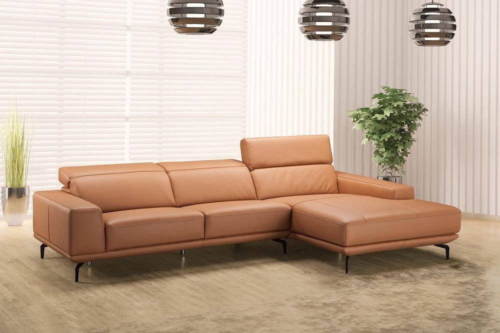 j m lima sectional sofa left hand chase in light brown italian leather