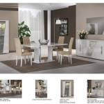 Esf Lisa Dining Sets 8 Pcs In White Fabric