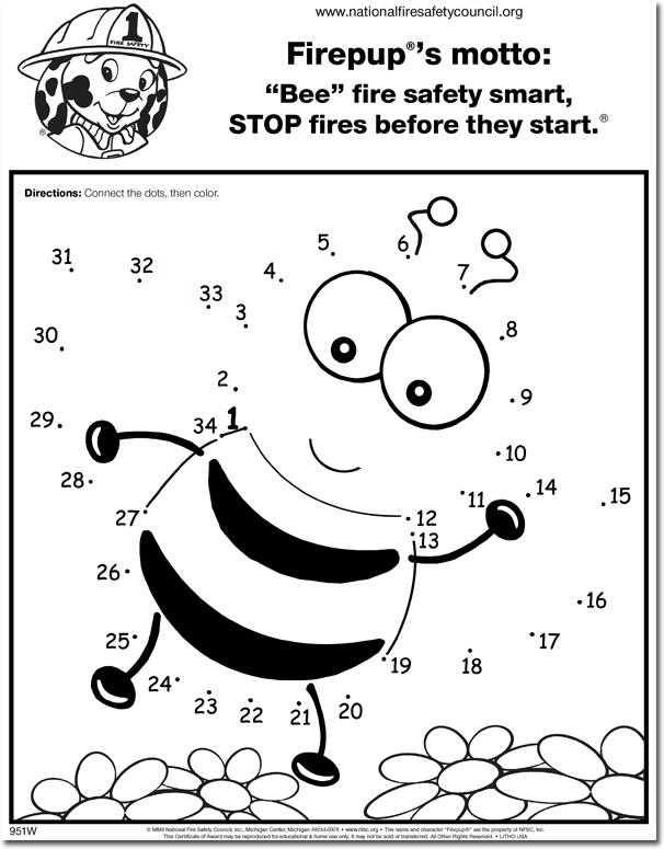 951fw Bee Fire Safety Smart Color Activity Sheet