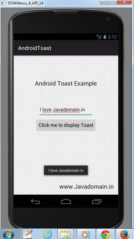 Android Toast Output