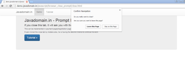 Prompt before closing the browser tab example demo