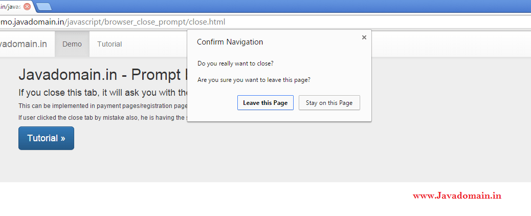 confirmation prompt before closing the browser tab