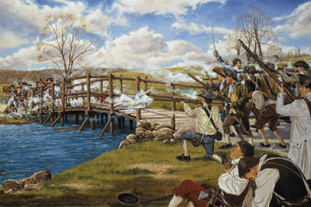 Battle at Concord Bridge, April 19, 1775; National Guard Heritage Painting