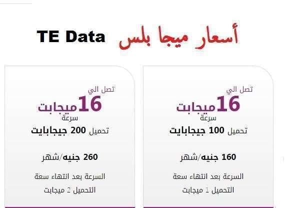 تعرف على باقات أسعار الأنترنت من شركة تى اى داتا Te Data
