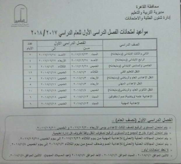 موعد امتحانات الفصل الدراسي الأول في جميع المراحل التعليمية