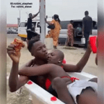 Modernity Or Madness – Young Guy And Girlfriend Spotted Enjoying In A Jacuzzi By The Roadside