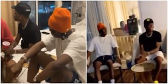 Singer Wizkid Spotted Playing Cheerfully as He Records New Music with Bella Shmurda in Ghana
