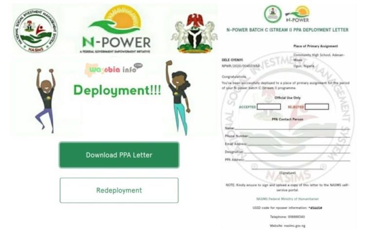 NASIMS gov ng How To Download Download Npower PPA Deployment Letter
