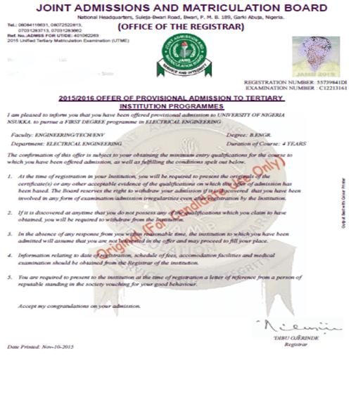 JAMB Admission Letter Printing