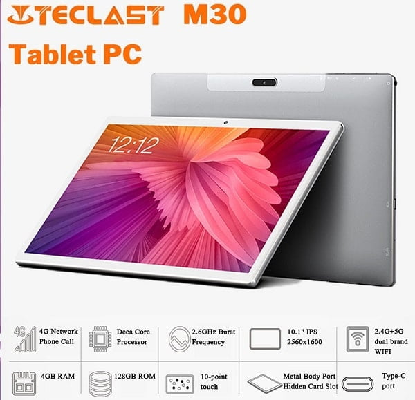 """TECLAST M30, Helio X27 10 Core,7500mAh,4G RAM+128G ROM 10.1"""" 2.5K Screen Android 8.0 ,OS 4G Phablet Tablet PC"""