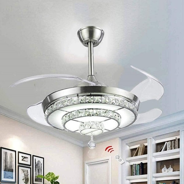 BIGBANBAN Crystal Ceiling Fan with Light and Remote,Chandelier Fan with Retractable Blades