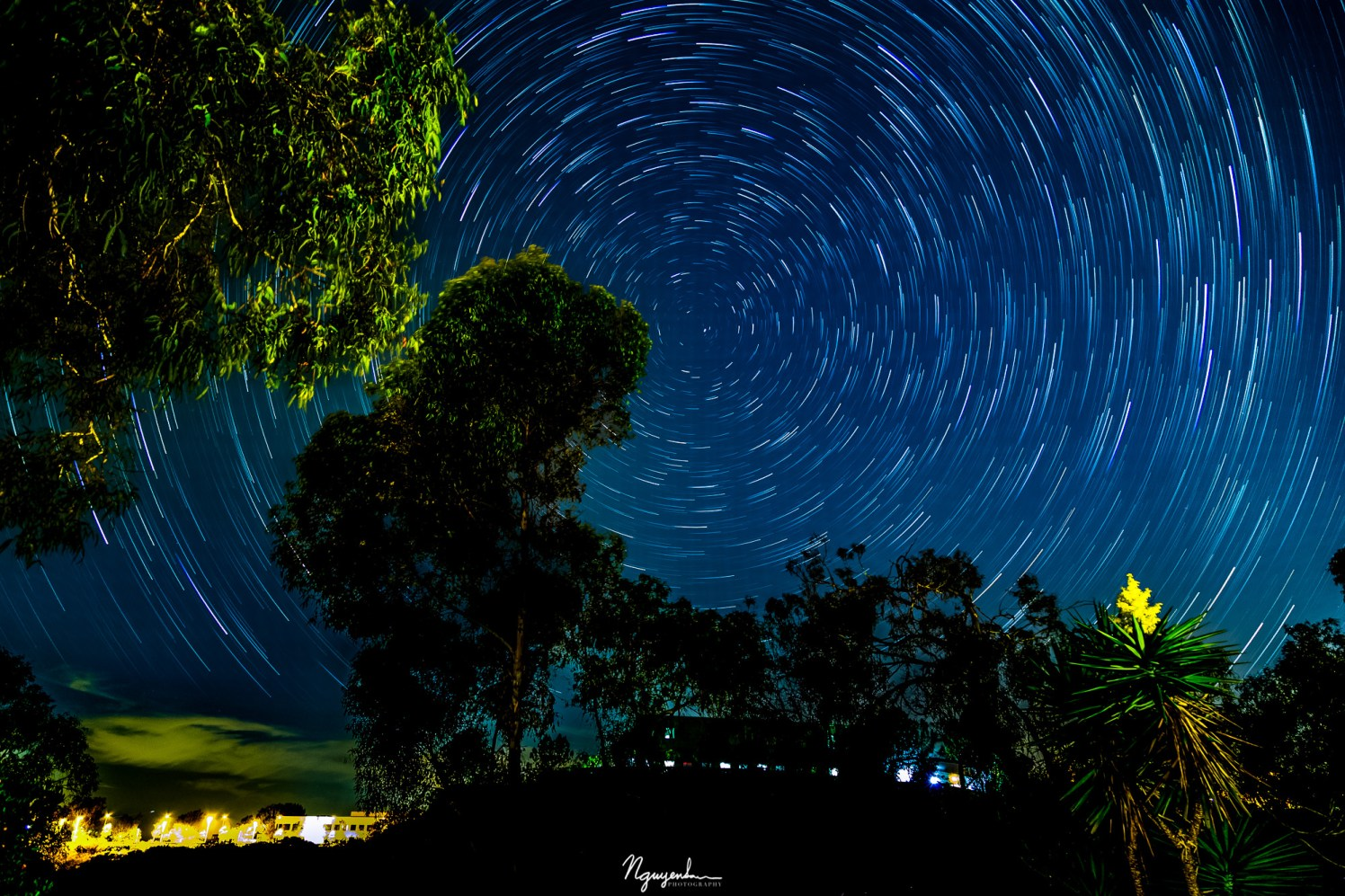 the star trails show how the earth spins about its axis