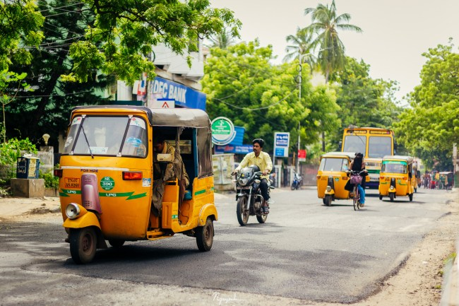 Auto ricksaw is a conventional mode of taxiing people around the streets of Chennai