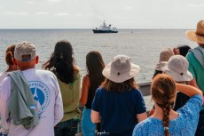 Viewers enjoying the arrival of R/V Sally Ride