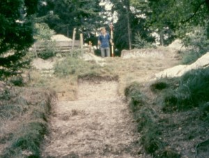 A trench across the ramparts at Ravensburgh Castle in 1964