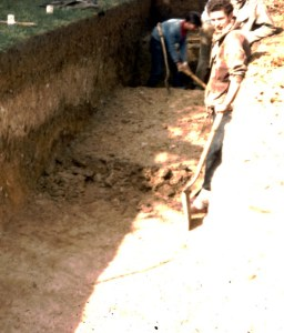 The trench dug in Letchworth's municipal cemetery in 1961