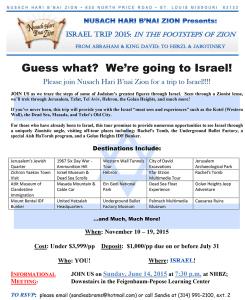 Israel Trip Flyer